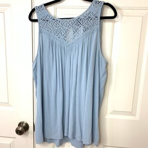 NWT TORRID POWDER BLUE TANK LACE DETAIL 0X
